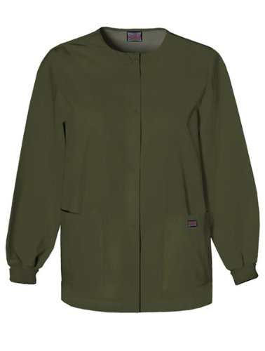Cherokee Womens Snap Front Warm Up Jacket, Dark Olive, X-Small (Disney Characters Male)
