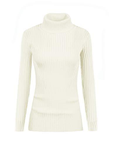 v28 Women Stretchable Turtleneck Knit Long Sleeve Slim Fit Sweater (S,White) ()