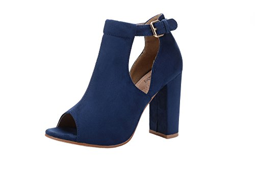 men's Stacked Chunky Heel Platform Cutout Side Straps Ankle Bootie, Navy 10 ()