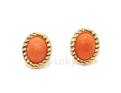 New 9ct Gold Real Coral Oval Robe Edge Stud Earrings (GS985) GOLD EARRING / Gold Jewellry (MADE IN UK WITH HIGH QUALITY)
