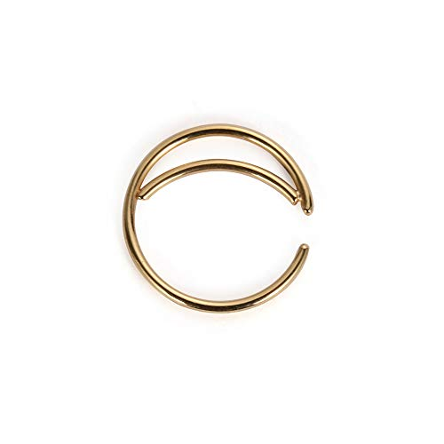 Tunsun 1PC Stainless Steel Moon Nose Ring Hoop Indian Nose Ring Septum Ring Nose Jewelry Nose Piercing Small Nose Hoop (Gold, 10mm)