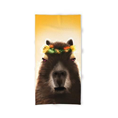 Society6 Bath Towel, 64'' x 32'', Capybara Shining by meru_and_pens by Society6
