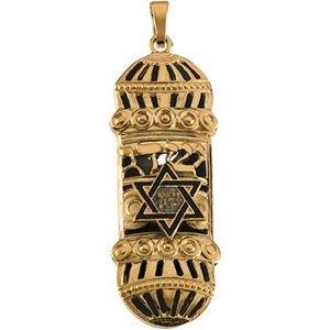 Mezouzah Pendentif or jaune 14 carats-Émail-Blanc/Bleu - 37 mm x 13 mm JewelryWeb -