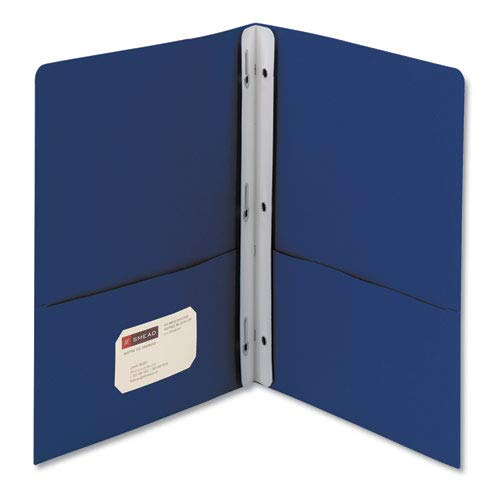 Smead Heavyweight 2-pocketフォルダW / Tang Fastener、手紙、1 / 2インチキャップ、ダークブルー、25 /ボックス   B00UZNVQUA