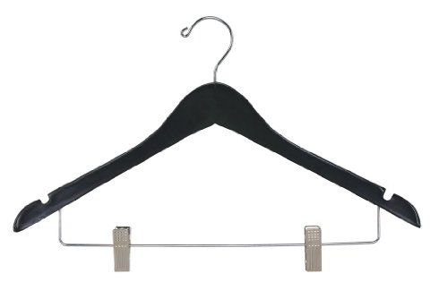 Women's Hardwood Coordinate Hanger with Notches, Clips and Chrome Hardware, Black Finish (Case of 100) by Gate House Furniture