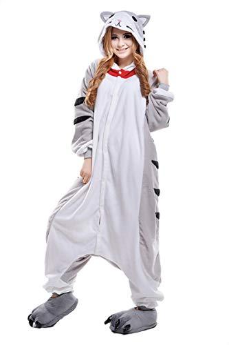 Cokle Adult Cartoon Pajamas One Piece Sleepsuit Hooded Lounge Sleepwear Animal Costumes Cheese Cat -