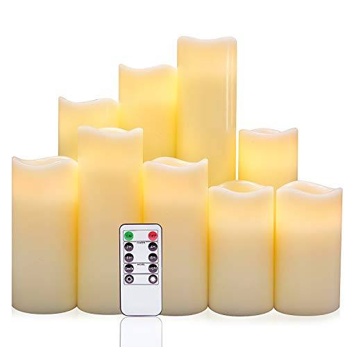 Eldnacele Flameless Candles, Pillar Flickering Flameless LED Candles Warm White Unscented Candles Set of 9(H 4'' 5'' 6'' 7'' 8'' 9'' xD 2.2'') Ivory Real Wax Battery Candles with Remote Timer by Eldnacele