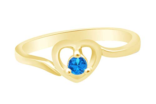 (AFFY Round Shape Simulated Topaz Solitaire Heart Ring 14k Yellow Gold Over Sterling Silver Ring Size 12)