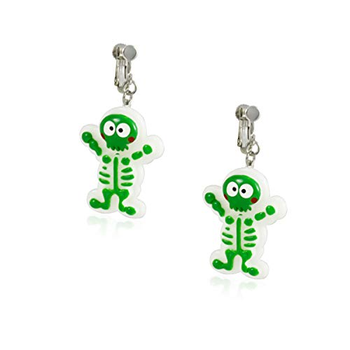 FidaShop New Cute Green Skeleton Clip On Earrings, Lightweight Charms And Nickel Free Jewelry, Includes Beautiful Gift Box ()