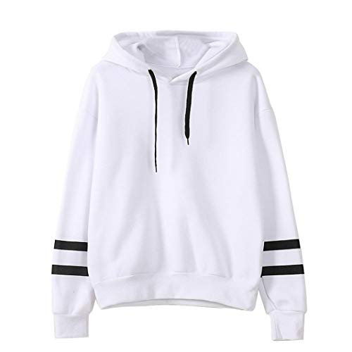 FEITONG Womens Long Sleeve Stitching Hooded Sweatshirt Jumper Pullover Tops(S,White) ()