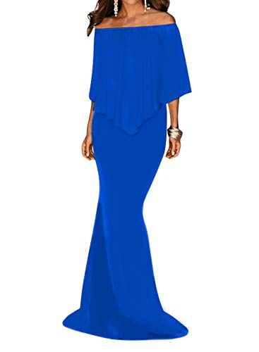 Sleeve Dokotoo Ruffles Mermaid Blue Gown Evening Off Shoulder Party 3 Womens Dress xURq6UI