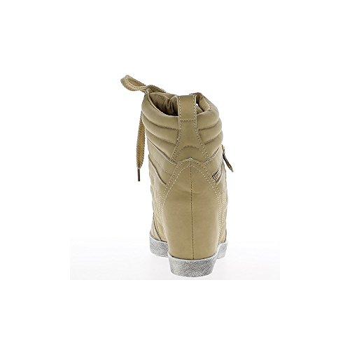 Baskets compensées montantes taupe effet damier à talon de 7,5cm