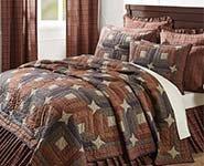 6pc Parker Star Patchwork Country King-Size Quilt Set-Shams- Pillow Cases-Burlap Toss Pillow