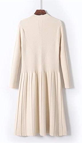 ERLIZHINIAN Frauen-Herbst-Winter Kleid-Lange Hülse gestrickte Pullover Pullover Kleid Turtleneck Starke warme Outwear Kleider 2019 (Color : Apricot XY8503, Size : One Size)