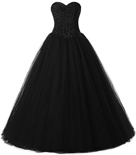 Beautyprom Women's Ball Gown Bridal Wedding Dresses (US24W, Black)