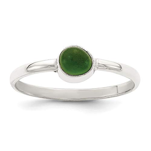 Bezel Glass Sea - 925 Sterling Silver Polished Green Sea Glass Ring Size 6