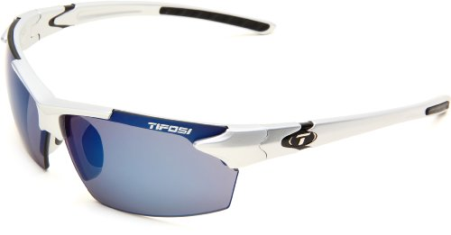 Tifosi Jet 0210400677 Wrap Sunglasses,Metallic Silver Frame/Smoke & Blue Lens,One ()