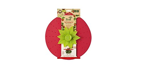 ZEAL Air Tight Push to Seal Silicone Kitchen Lid - ECO Friendly - For use with pots, dishes, pans, Tupperware, leftovers, microwaves, stovetops - Red Strawberry Design (9 - Population How Save Bee The To