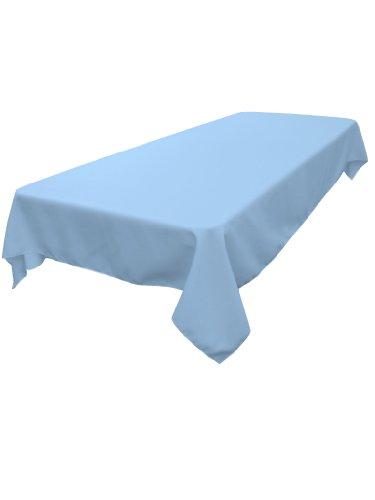 LA Linen Polyester Poplin Rectangular Tablecloth, Light Blue, 60