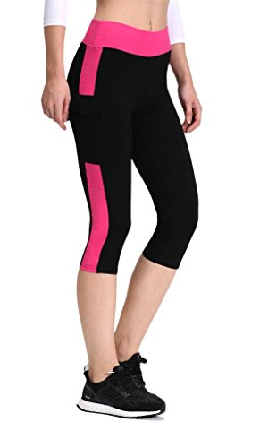 Neonysweets Womens Yoga Capri Tights Running Fitness Pants Leggings Black Rose XL - Flap Pocket Capri