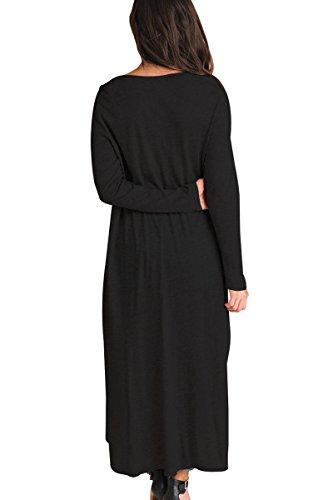Neuf Noir High-low en dentelle à manches longues Blouse de soirée pour femme Tenue décontractée dété Taille UK 16EU 44