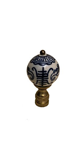 Bethesda Design, LLC Blue & White Chinoiserie Finial Lamp Shade Topper Porcelain Asian Chinese Motif Oriental Lamp