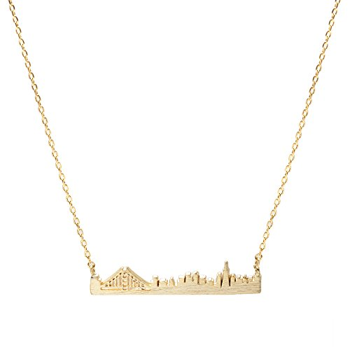 Spinningdaisy Handcrafted Golden Gate Bridge San Francisco Necklace Gold
