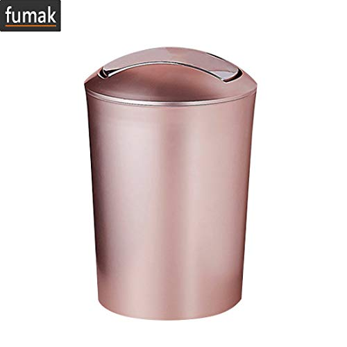 (fumak Bathroom Trash can - Large Capacity 10L European Style Durable Garbage Can Plastic Trash Wastebin with Lid Bathroom Kitchen Garbage Cans Supplies (Rose Gold))