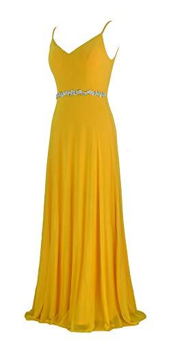- conail Coco Women Double V-Neck Spaghetti Straps Beaded Elegant Maxi Long Formal Dress Evening Gown (Yellow188, XXLarge)