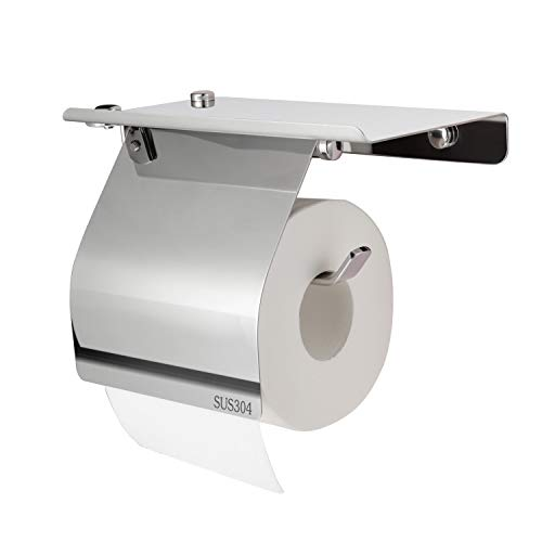 Verscoo Toilet Paper Holder, Extremely Polished SUS304 Stainless Steel Waterproof Tissue Paper Holder for Bathroom &