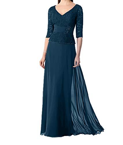 Charmant V Chiffon Damen 3 4 Traumhaft Dunkel Festlichkleider Promkleider Ausschnitt Abendkleider Blau mit Rock Langarm EHErqPw