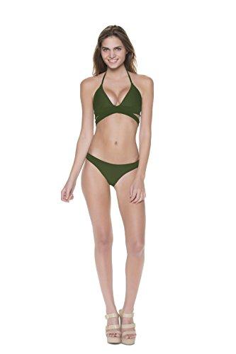Olive Two-Piece Wraparound Halter Bikini Size L