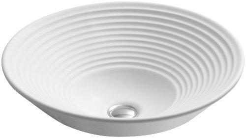 KOHLER K-2191-HW1 Turnings Vessels Bathroom Sink, Honed White (Hw1 Honed Vessels White)