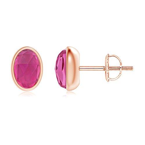 Bezel Set Oval Pink Tourmaline Solitaire Stud Earrings in 14K Rose Gold (6x4mm Pink Tourmaline)