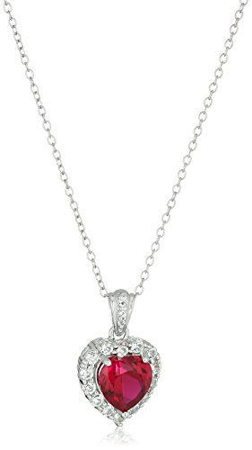 Platinum Plated Sterling Created Gemstone Necklace
