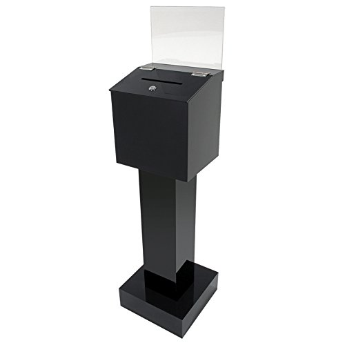 STAND ALONE LOCKABLE COLLECTION BOX - BLACK