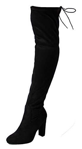 New Womens Suede Over The Knee Boots Block High Heel Lace Thigh Stretch Shoes (41 / 8 UK, Black)