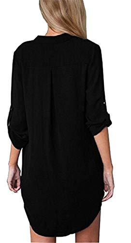 Unique Chic Schwarz2 Mousseline Manches Casual Mode Femme lgant Bandage V Color Longues Shirt Et Size Jeune Button Tops Chemisier 2XL Printemps Modle Impression Cou Chemisiers BU4n0xn