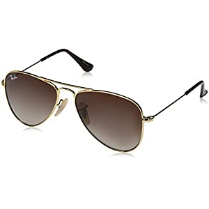 Ray-Ban Kids' Metal Unisex Aviator Sunglasses, Gold, 50 mm