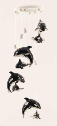 Clay Motif - Clay Motif Orca Killer Whale Pair Jumping Wind Chime Garden Decor