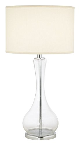 Pacific Coast Lighting 87-1667-29 The 007 1-Light Table Lamp, Clear Glass Base with White Fabric Shade, 30