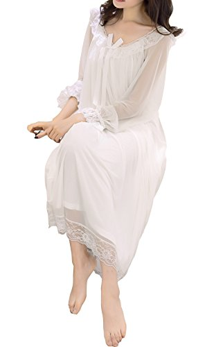 Womens Sexy Lace Lingerie Bridesmaid Vintage Victoria Style Sheer Long Nightgown