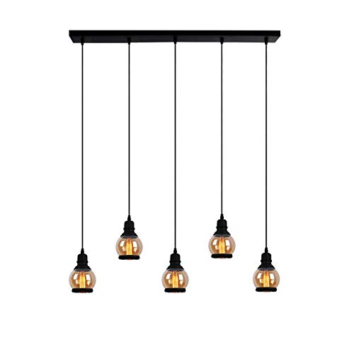 Unitary Brand Antique Black Metal and Tawny Glass Jar Shade Dining Room Multi Pendant Lighting with 5 E26 Bulb Sockets 300W Painted Finish