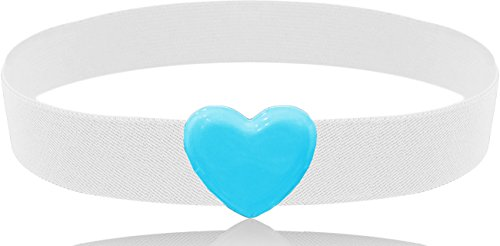 LUNA Fashion 2 Inch Heart Buckle Cinch Belt - Original - Sky Blue