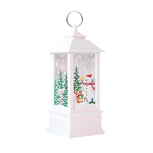 - Amaping Christmas LED Candle Portable Hanging Light for Christmas Tree Snow Flake Flower Printed Cabinet Lamp with LED Tea light Candles Home Garden Decor (White Snowman Pattern)
