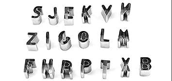 26pcs Letras del Alfabeto del Acero Inoxidable Galletas de la Galleta Cortadores Moldea Moldes de Acero Inoxidable para Galletas Digead Juego de Moldes Galletas
