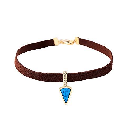 MGZDH Women's Explosive Jewelry Velvet Turquoise Geometric Pendant Short - Necklace Turquoise Geometric