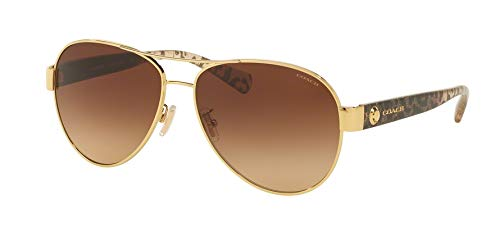 b8745c126fd Coach Womens Sunglasses (HC7063) Gold Brown Metal - Non-Polarized - 58mm