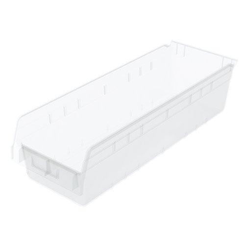 Akro-Mils 30084SCLAR ShelfMax Plastic Nesting Shelf Bin Box, 23-5/8-Inch L x 8-3/8-Inch W x 6-Inch H, Clear, 6-Pack by Akro-Mils (AKRA7)