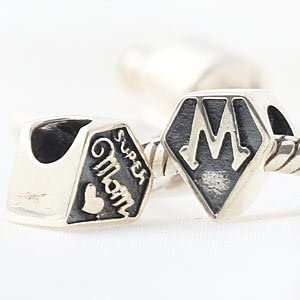 The Kiss Loving Mother I Love Mom Mother Center of My Heart Family 925 Sterling Silver Bead Fits European Charm Bracelet